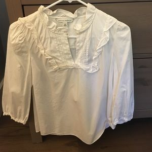 White Smock-Top Blouse from BR Size XS. 3/4 sleeve